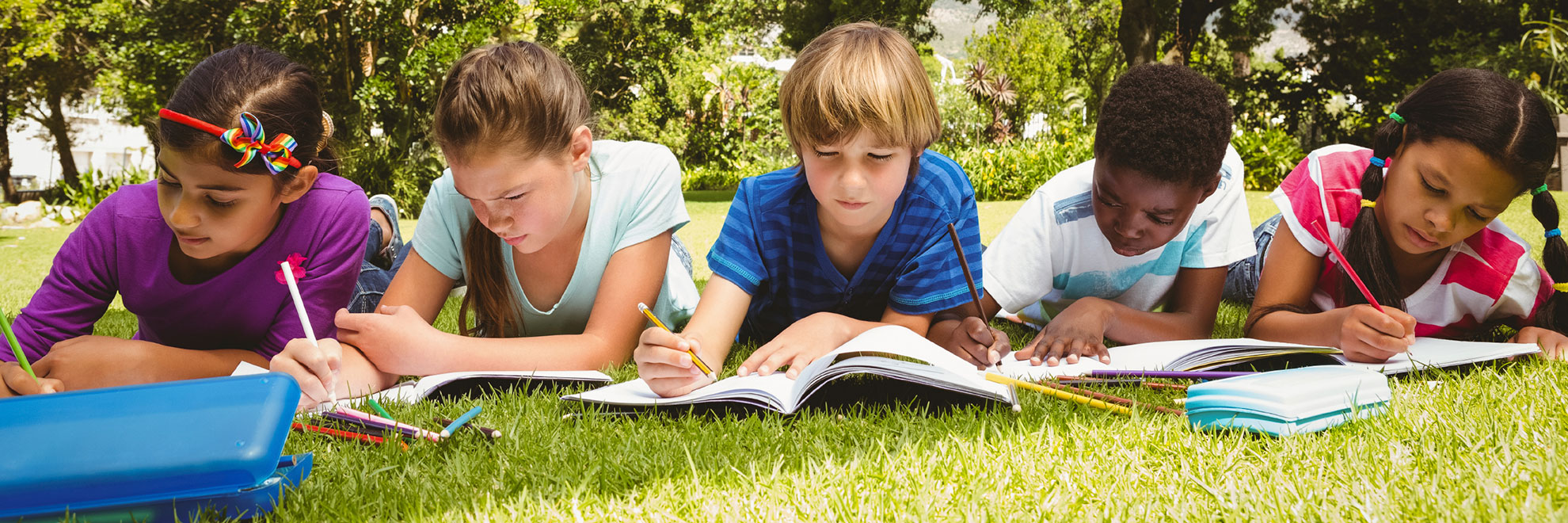 children homework in park