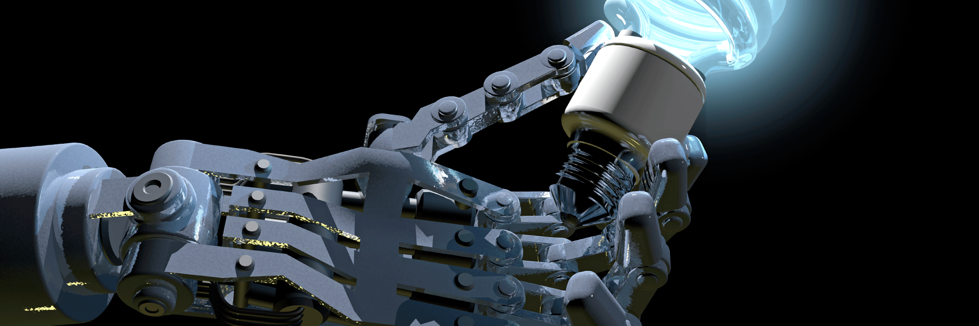 robot hand with bulb